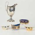 American and european silver five pieces 19th20th c cream jug by s alexander philadelphia ca 1914 7 12 french boatshaped master salt with cobalt glass liner wolf  knell hanau gilt si