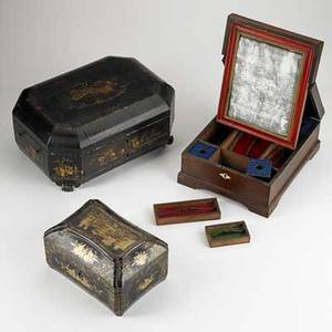 Decorative boxes two chinese sewing boxes together with an english rosewood travel desk 19th c largest 5 12 x 13 12 x 10
