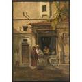 Orientalist oil on panel illegibly signed framed 16 18 x 11 38