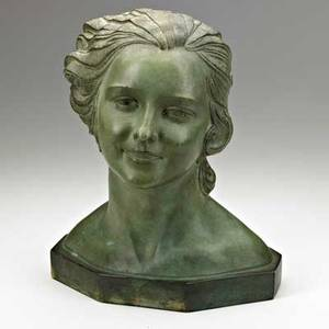 Demetre chiparus romanian 18861947 terracotta bust with verdigris patination signed dh chiparus 14 x 10 12 x 8