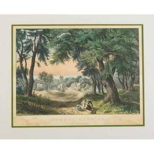 Currier and ives prints four together with a tait reproduction all framed largest 19 58 x 16 58 sight