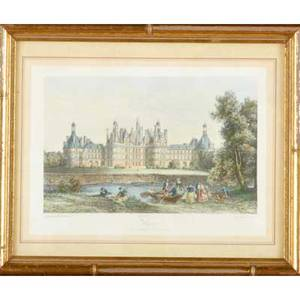 Prints and engravings four linoleum print signed muriel hare the drummer boy titled and numbered two 19th c engravings print of a house with letter to william penn on verso all framed lar