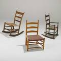 Shaker three childs chairs tworockers and oneside 19th20th c maple oak hickory walnut and cotton tallest 29 12