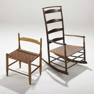 Shaker rare low back dining chair and ladder back rocker 19th20th c oak stained maple rush and cotton dining chair 18 12 x 14 and rocker 41 x 24 x 26