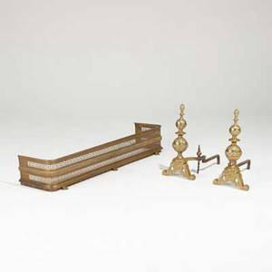 Fireplace accessories pair of empire style brass andirons and brass fender on paw feet early 20th c andirons 23 x 11 12 x 10