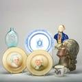 George washington seven pieces bronze wall plaque bust porcelain bust dyottville glass works washingtontaylor bottle johnson brothers portrait plates one george and one martha spode exitus act
