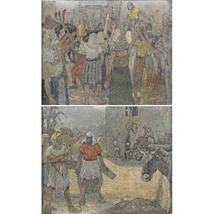 Carle michel boog swissamerican 18771968 two oil on canvas on board biblical illustrations joseph prepares for the seven lean years and joseph acclaimed by the egyptians framed signed an