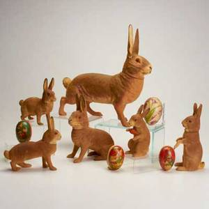 Easter candy containers nine items early 20th century six composite bunnies and three paper mache eggs eggs marked germany tallest 12 12