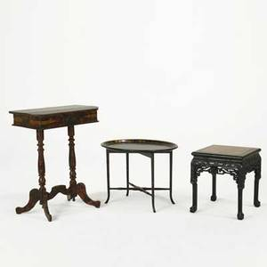 Table group tabouret with marble insert papier mache traytop table and lacquered sewing stand 19th20th c largest 31 x 24 14 x 16