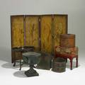 Decorative furnishings seven items 19th20th c four section asian screen oval lacquer tray table cast iron planter painted box on stand tole hat box and two containers screen 49 x 72 tota