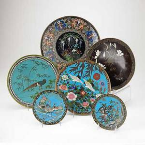 Asian cloisonne trays six with floral and bird decoration early 20th c largest 14 38