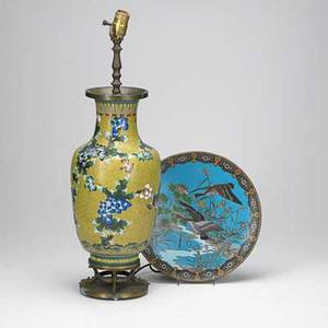 Japanese cloisonne platter with geese and vase with flowers on yellow ground mounted as a lamp 20th c vase 15 platter 12 dia