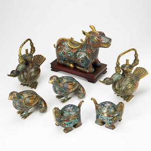 Chinese cloisonne incense burners two pair of birds pair of turtles and a kylin early 20th c largest 10 x 6 34