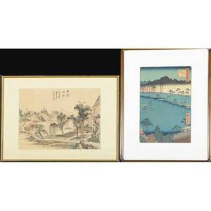 Four japanese prints four woodblock prints in colors all framed two together largest 13 12 x 9 sight