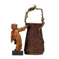 Japanese decorative items two 19th20th c roof carving of quan yin and ikebono basket taller 21