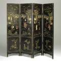Asian lacquer screen four panel with hardstone inlay 20th c 71 12 x 73 total