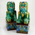 Chinese foo dogs pair in polychrome glaze late 20th c unmarked each 24 x 9 x 12