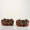 Sumida gawa two glazed stoneware planters with figures in landscape japan 20th c unmarked each 4 12 x 7 12