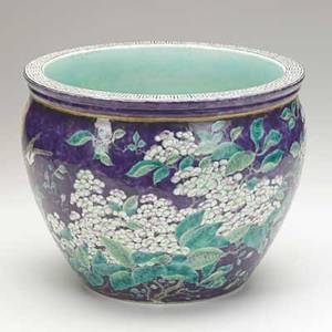 Chinese porcelain jardiniere dayazhai type porcelain cache pot purple ground 19th20th c inscribed da ya zhai and seal reading tian di yi jia ding china 9 x 11 12