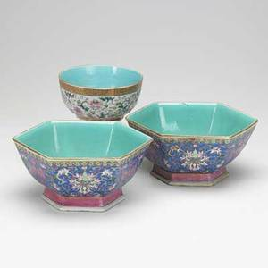 Chinese porcelain three items 19th c pair of sixsided bowls with incised polychrome decoration and round bowl with raised design taller 4