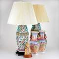 Chinese porcelain etc five pieces 20th c pair of enameled table lamps pair of vases with english hunting scene together with carved horn peacock all unmarked lamp to finial 32