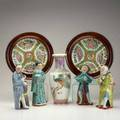 Chinese ceramics seven pieces 20th c two framed rose medallion plates four wise men and baluster vase some marked tallest 11 12