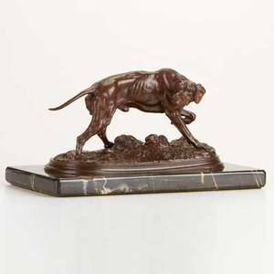 After pierre jules mene french 18101879 bronze sculpture of a pointer on marble base signed pj mene 5 12 x 10 12 x 5 12