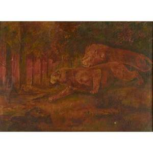 Oil painting oil on canvas of lions framed with gilded period frame 20 x 27 78