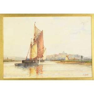 Frederick james aldridge british 18501933 etc watercolor of a sailboat framed signed 10 14 x 14 78 oil on board of a sailboat framed initialed signed 4 34 x 7