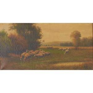 F brillet and e cole unknown brillet oil on canvas of sheep in a landscape framed signed 12 x 24 cole oil on canvas landscape framed signed 8 x 10