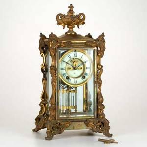 Ansonia clock company crystal regulator shelf clock ansonia ct 19th c with rococo revival gilt bronze mounts ansonia mark to dial 16 x 8 14 x 7