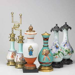 Handpainted porcelain lamp group six 20th c pair with floral decoration pair with children and two others tallest 23 14 incl hardware