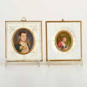 Portrait miniatures two late 19th  early 20th c portraits on ivory of napoleon and lady with spaniel both illegibly signed largest 4 x 3 58
