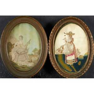 Five english silk embroideries early 19th c all of women all framed largest 9 14 x 7 18 oval