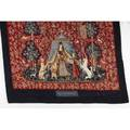 Tapestry the lady and the unicorn late 20th c needlepoint and felted wool inscribed in weave dame a la licorne a mon seul desir  zev82 49 x 38