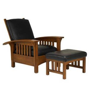 Contemporary arts  crafts bowarm morris chair and ottoman usa late 20th c oak with vinyl upholstery sam moore furniture co tags 39 x 34 14 x 40 14