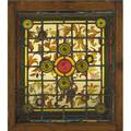 English arts and crafts stained glass panel with sunflower pattern england ca 1880 in original frame unsigned overall 32 12 x 27 12