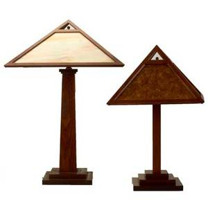 John haight studios two contemporary prairie style lamps elgin il late 20th c oak mica slag glass foil labels larger 27 x 18 sq