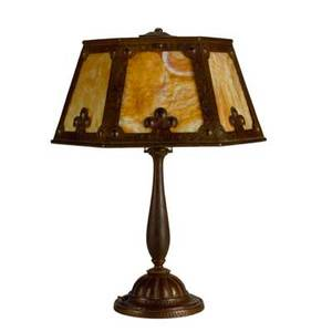 Slag glass lamp early 20th c hammered and patinated brass textured glass unmarked two socket 22 x 15 x 6 34 dia