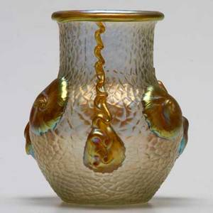 Loetz type iridescent glass vase with applied decoration 19th20th c unmarked 4 78 x 4 dia