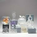 Lalique fifteen pieces fishbowl coeur joie heart perfumes advertising plaques and several pieces for the lalique society of america fishbowl 10 x 5 12 dia