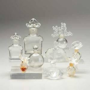 Lalique baccarat nine perfume bottles clairfontaine doves samoa deux fleurs lovebirds worth etc all marked largest 6 12