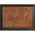 European arts and crafts large embossed copper wall hanging plaque with viking ship ca 1900 framed unsigned overall 37 x 48 12