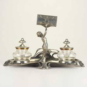 Wmf art nouveau inkwell set germany c1900 pewter brass and glass marked 8 34 x 14 x 8