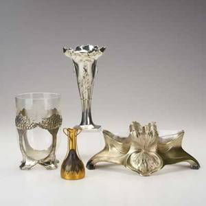 Orivit four pieces jugendstil vase with etched glass insert flared vase with poppies bronzed bud vase and centerpiece bowl with glass liner germany c1900 pewter glass bronzed metal and white