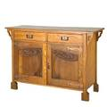 English arts  crafts carved sideboard stationary interior shelf and two drawers early 20th c quartersawn oak and copper hardware unmarked 37 x 54 x 20