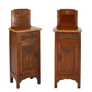 English arts  crafts pair of nightstands with singleshelf interiors early 20th c walnut marble and giltbronze hardware unmarked each 45 12 x 16 12 x 13