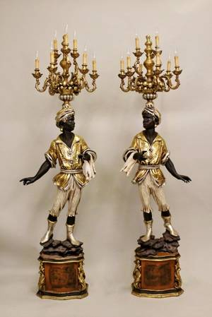 Pair of Blackamoor Figural Floor Torchieres