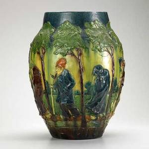 European art pottery massive vase with procession possibly belgian ca 1900 unmarked 21 x 15 12