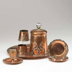 Joseph heinrichs attr sevenpiece smoking set humidor matchbox holder serving tray ashtrays and two cylindrical match holders new york ca 1900 silver copper and glass each stamped sterli